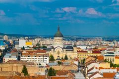 The Dormition of the Theotokos Cathedral viewed from St. Michael& x27;s Church in Cluj-Napoca, Romania.  stock image