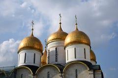 Dormitionkerk in Moskou het Kremlin De Plaats van de Erfenis van de Wereld van Unesco stock foto