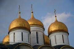 Dormitionkerk van Moskou het Kremlin De Plaats van de Erfenis van de Wereld van Unesco stock foto