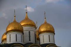 Dormitionkerk van Moskou het Kremlin De Plaats van de Erfenis van de Wereld van Unesco stock foto's