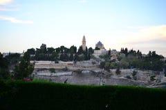 Dormitions-Abtei auf dem Mount Zion vom Ölberg, Jerusalem ISRAEL stockfoto