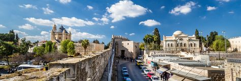 Dormitions-Abtei und Zion Gate, Jerusalem Stockbild