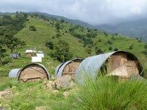 Dormitories in Upper Chipla village stock image