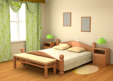 Dormitorio 3d interior Fotografía de archivo libre de regalías