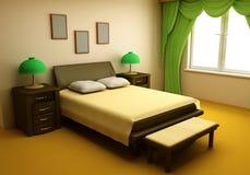 Dormitorio acogedor 3d interior Imagen de archivo libre de regalías