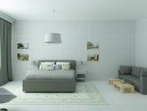 Dormitorio acogedor brillante en estilo moderno clásico y colores verdes olivas Imagen de archivo libre de regalías