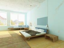 Dormitorio acogedor con las paredes azules, estilo escandinavo de la mañana Imagenes de archivo