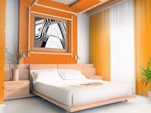 Dormitorio anaranjado Imagen de archivo libre de regalías