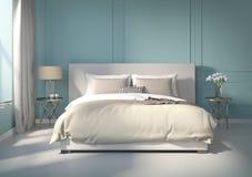 Dormitorio azul clásico con el piso blanco Fotografía de archivo