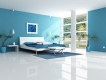 Dormitorio azul contemporáneo Foto de archivo