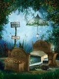 Dormitorio azul de la fantasía Fotos de archivo libres de regalías