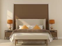 Dormitorio beige con la decoración anaranjada Fotos de archivo libres de regalías