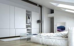 Dormitorio blanco arquitectónico con los gabinetes de pared libre illustration
