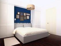 Dormitorio blanco y azul Imagenes de archivo
