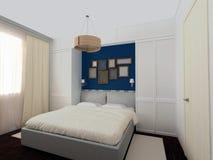 Dormitorio blanco y azul Fotos de archivo libres de regalías