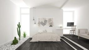 Dormitorio blanco y gris minimalista escandinavo con el GA suculento imagen de archivo