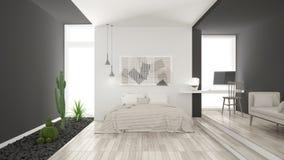 Dormitorio blanco y gris minimalista escandinavo con el GA suculento foto de archivo libre de regalías