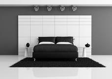Dormitorio blanco y negro Fotografía de archivo