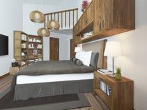 Dormitorio brillante grande en el desván Imagen de archivo