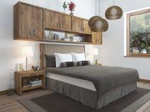 Dormitorio brillante grande en el desván Fotografía de archivo