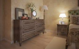 Dormitorio clásico con muebles del roble ilustración del vector