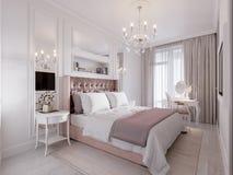 Dormitorio clásico contemporáneo moderno espacioso y brillante Fotografía de archivo libre de regalías