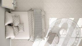 Dormitorio clásico, diseño interior escandinavo minimalistic, top Fotografía de archivo libre de regalías