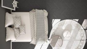 Dormitorio clásico, diseño interior escandinavo minimalistic, top Imagen de archivo libre de regalías