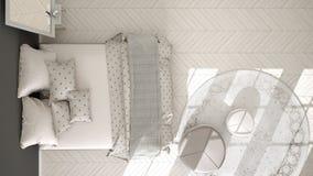 Dormitorio clásico, diseño interior escandinavo minimalistic, top Fotos de archivo libres de regalías