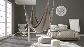 Dormitorio clásico, diseño interior minimalistic, con el escandinavo Foto de archivo libre de regalías