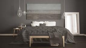 Dormitorio clásico, estilo moderno escandinavo, interio minimalistic fotografía de archivo libre de regalías
