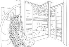 Dormitorio con cuatro camas ejemplo interior minimalista único del vector, de línea arte, del bosquejo y del esquema ilustración del vector