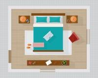 Dormitorio con de los muebles la opinión superior por encima Imágenes de archivo libres de regalías