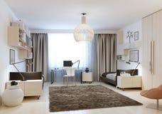 Dormitorio con dos solas camas en estilo del minimalismo Foto de archivo libre de regalías