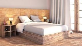 Dormitorio con el ajuste de madera ilustración del vector