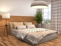 Dormitorio con el ajuste de madera ilustración 3D stock de ilustración