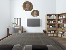 Dormitorio con el escritorio de la TV y estantes para los libros fotos de archivo libres de regalías