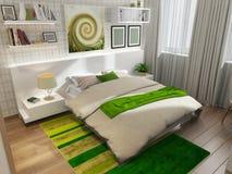 Dormitorio con la alfombra verde Imágenes de archivo libres de regalías