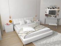 Dormitorio con la cama blanca Foto de archivo libre de regalías
