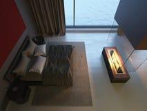 Dormitorio con la chimenea Foto de archivo libre de regalías