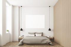 Dormitorio con la imagen y la pared de madera ilustración del vector