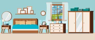 Dormitorio con la opinión de la ventana del paisaje del día de verano ilustración del vector