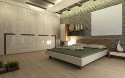 Dormitorio con la pared de ladrillo Fotografía de archivo