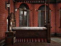 Dormitorio con las lámparas y las velas ilustración del vector