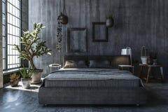 Dormitorio con las paredes grises Fotos de archivo libres de regalías