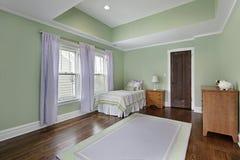 Dormitorio con las paredes verdes Fotografía de archivo