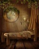Dormitorio de la vendimia ilustración del vector