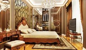 Dormitorio de lujo con el desplazamiento del armario ilustración del vector