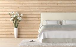 Dormitorio de madera con la cala lilly