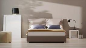 Dormitorio del diseño en tonelada caliente almacen de metraje de vídeo